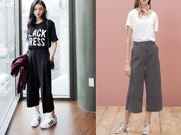 Thời trang cực ngầu với quần ống rộng và giày thể thao